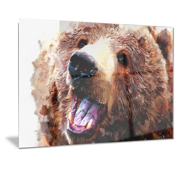 Designart 'Happy Brown Bear' Animal Metal Wall Art