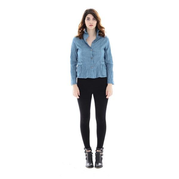 Trisha Tyler Women's Solid Teal Woven Crinkle Basic Shirt
