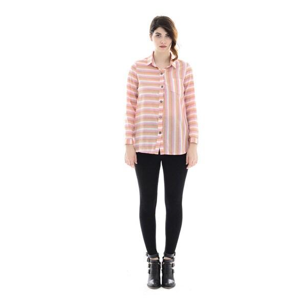 Trisha Tyler Women's Coral/Pink Woven Plaid Tunic