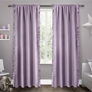 ATI Home ATI Kids Ruffles White/Pink/Purple Polyester 84-inch Rod Pocket Window Curtain Panel Pair