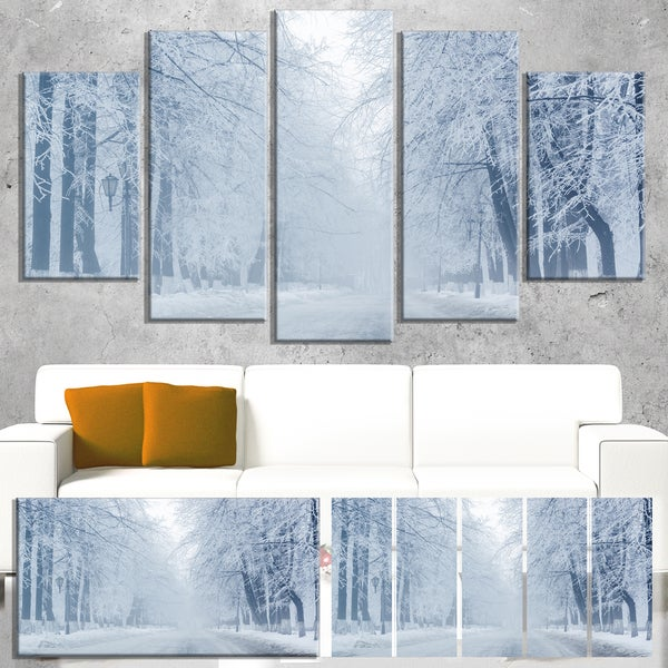 White Road and Winter Trees - Landscape Large Canvas Wall Art
