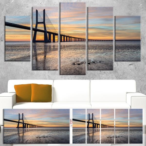 Vasco de Gama Bridge Lisbon - Seascape Large wall art canvas