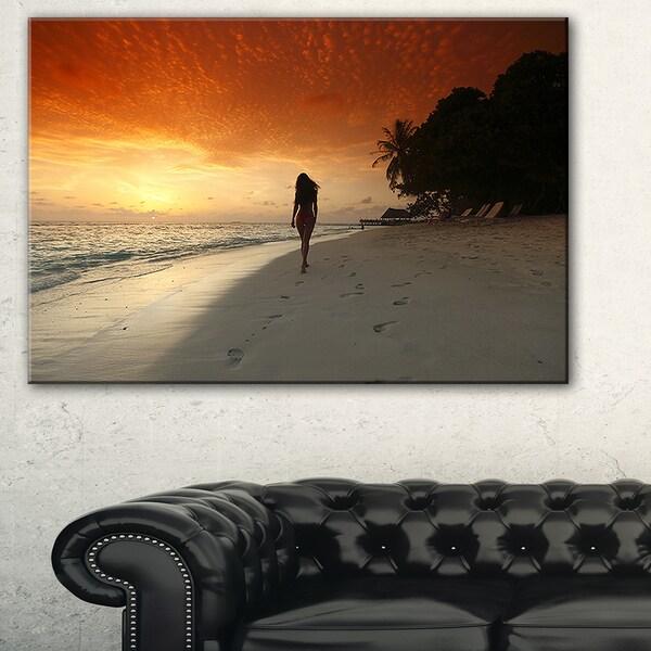 Woman Walking on Beach - Seashore Photo Canvas Art Print