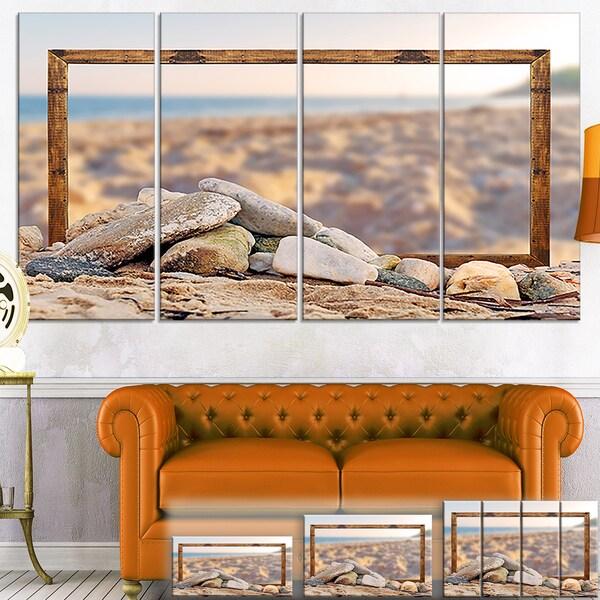 Framed Blurred Seashore - Landscape Art Canvas Print