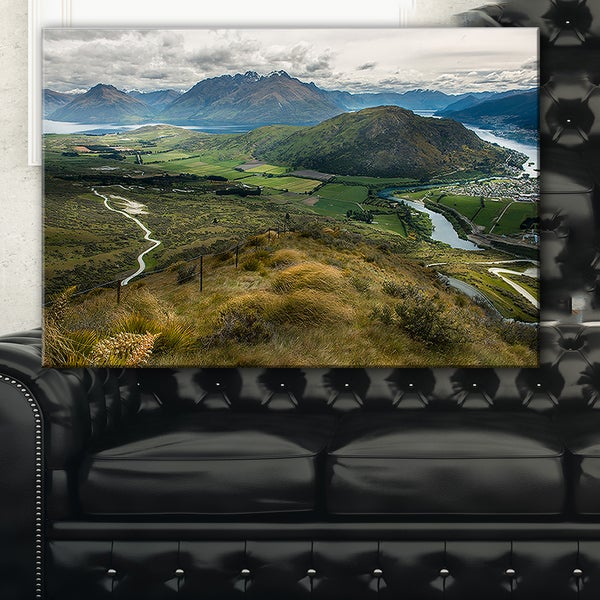 Fields and Hills in New Zealand - Landscape Photo Canvas Print