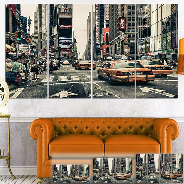 New York Streets and Taxis - Cityscape Photo Canvas Art Print