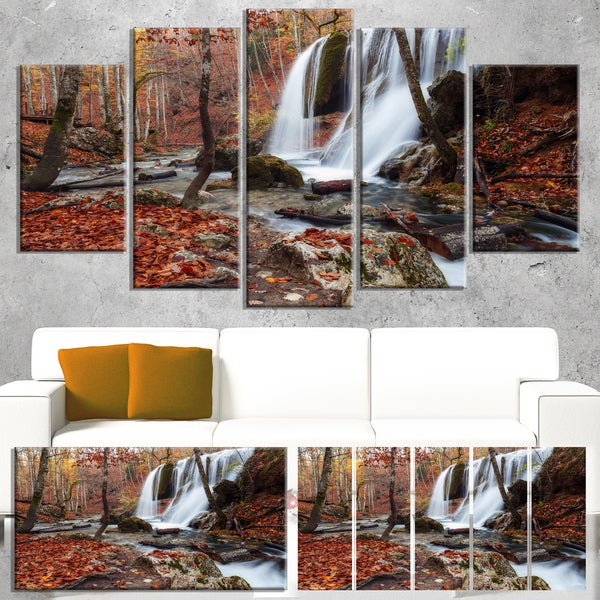 Crimea Waterfall in the Fall - Landscape Photography Canvas Print