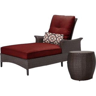 Hanover Gramercy Steel and Resin with Crimson Red Cushion Outdoor 2-Piece Chaise Lounge Set