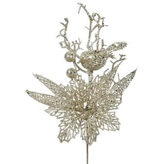 Vickerman Brown Plastic 13-inch Champagne Glitter Poinsettia Bird Picks (Pack of 12)