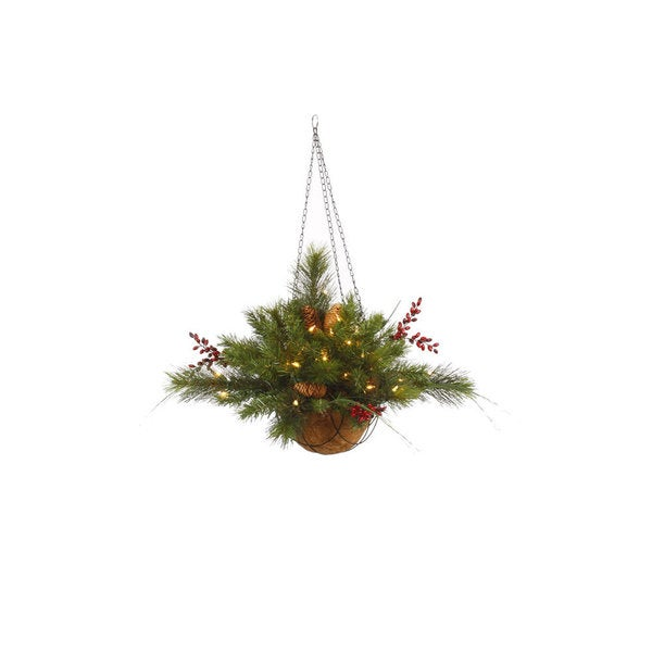 Vickerman Green Plastic 12-inch Mixed Berry and Cone Artificial Christmas Hanging Basket with 35 Clear Lights