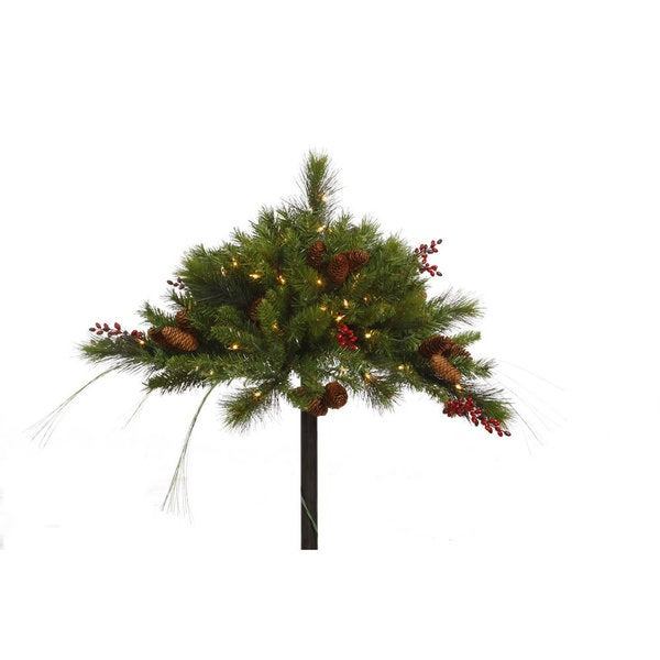 Vickerman Green Plastic 16-inch Mixed Berry Cone Artificial Christmas Urn Filler With 50 Clear Lights