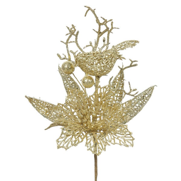 Vickerman Glitter Gold Plastic 13-inch Poinsettia and Bird Tree Picks (Pack of 12)