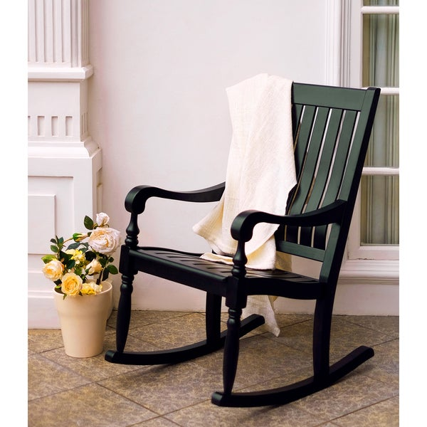 Lyon Black Mahogany Porch Rocking Chair