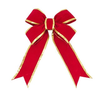 Red-Gold Velvet 18-inch x 23-inch 6-inch Ribbon Bow