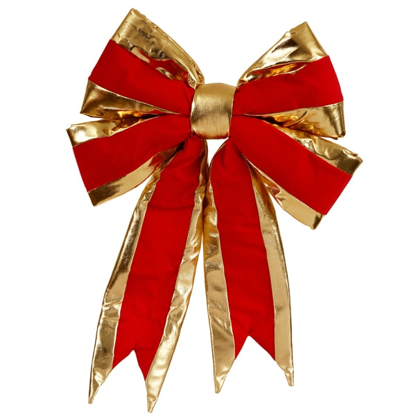 Vickerman Red/Gold Trim 16-inch x 19-inch Structured Bow