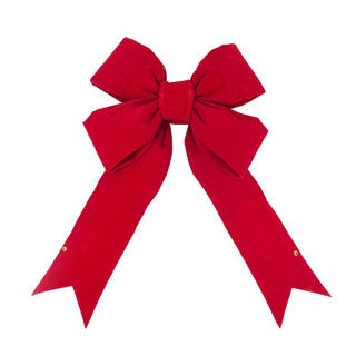 Vickerman Red Velvet 12-inch x 15-inch Indoor Decorative Holiday Bow
