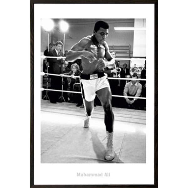 Muhammad Ali Training 24-inch x 32-inch Print with Walnut Architect Frame