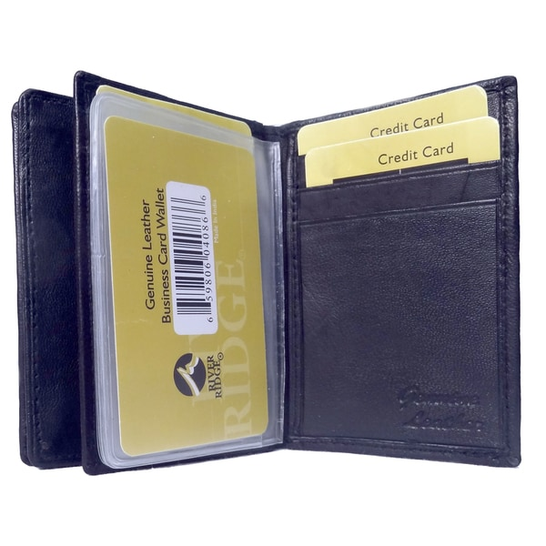 Punita Group Black Lambskin Leather Bi Fold Business Card Wallet