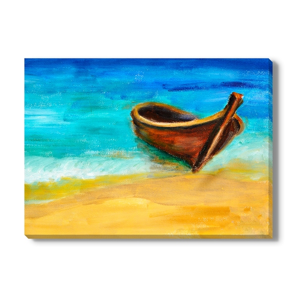 Valenty 'Boat On The Beach' Canvas Gallery Wrap