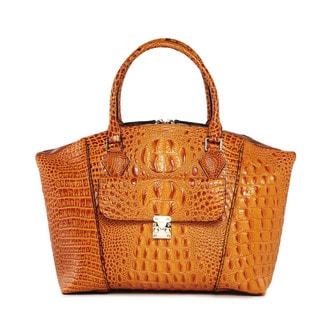 Vicenzo Leather Carrina Croc Embossed Leather Handbag