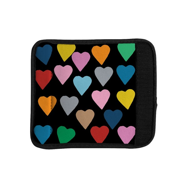 KESS InHouse Project M 'Hearts Colour on Black' Luggage Handle Wrap