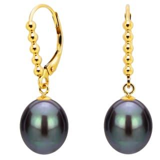 DaVonna 14k Yellow Gold 9-10mm Black Freshwater High Luster Long Shape Pearl Beaded Design Lever-back Earrings