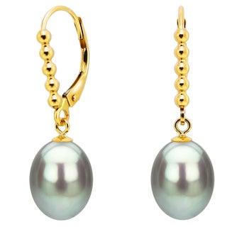 DaVonna 14k Yellow Gold 7-8mm Grey Freshwater High Luster Long Shape Pearl Beaded Design Lever-back Earrings