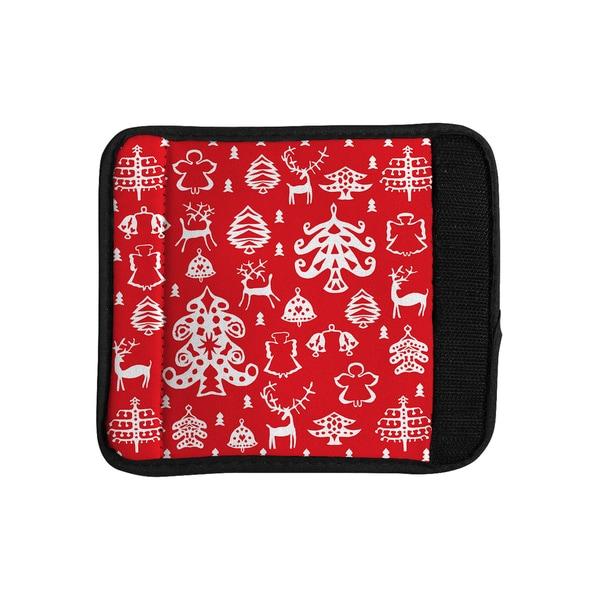 KESS InHouse Miranda Mol 'Warm Winter Red' White Luggage Handle Wrap