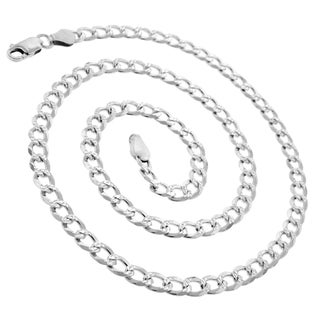 .925 Sterling Silver 5mm Solid Cuban Curb Link Diamond-cut ITProLux Necklace Chain