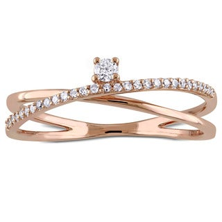 Miadora 14k Rose Gold 1/6ct TDW Diamond Criss-Cross Promise Ring (G-H, SI1-SI2)