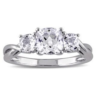 Miadora 10k White Gold 3-Stone Cushion Shape Created White Sapphire and Diamond Engagement Ring