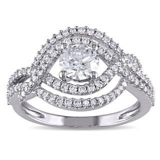 Miadora Signature Collection 10k White Gold 1ct TDW Diamond Infinity EngagementRing (G-H-,I1-I2)