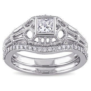 Miadora Signature Collection 14k White Gold 1/2ct TDW Diamond Vintage Bridal Ring Set (G-H, I1-I2)
