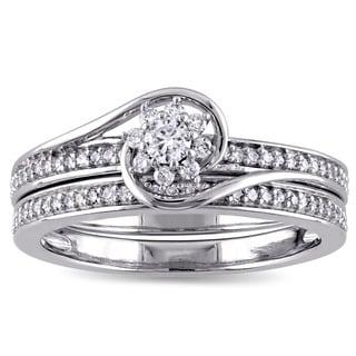 Miadora 10k White Gold 1/3ct TDW Diamond Cluster Bridal Ring Set (G-H, I2-I3)