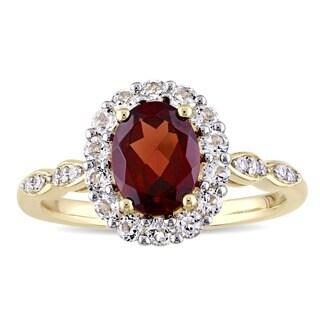 Miadora 14k Yellow Gold Garnet, White Toapz and Diamond Accent Vintage Halo Ring