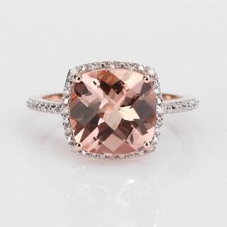 Miadora Signature Collection 14k Rose Gold 1/10ct TDW Diamond and Morganite Ring (G-H, I1)