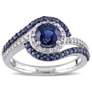 Miadora Signature Collection 14k White Gold 1/4ct TDW Diamond and Sapphire Swirl Ring (G-H, I1-I2)