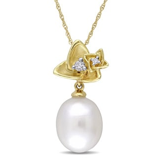 Miadora 10k Yellow Gold Cultured Freshwater Pearl and Diamond Flower Drop Necklace (10-10.5 mm)