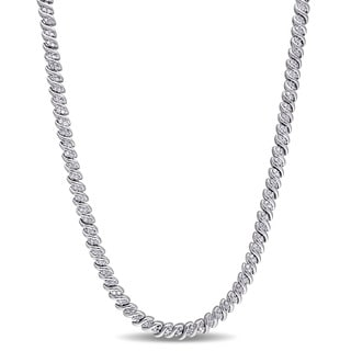 Miadora Sterling Silver 1ct TDW Diamond Braided Necklace (J-K, I3)
