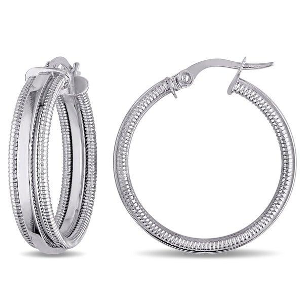 Miadora 10k White Gold Vintage Edged Hoop Earrings