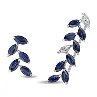 Miadora 14k White Gold Sapphire and Diamond Mismatched Stud and Crawler Petal Earrings