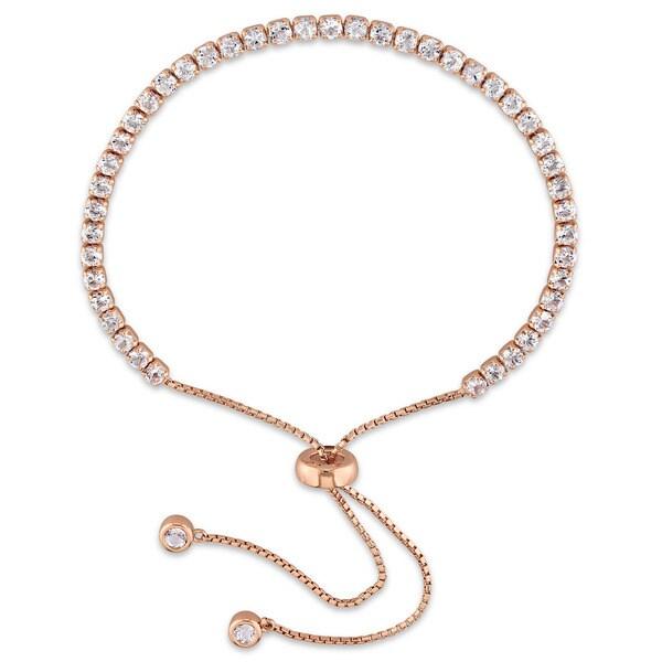 Miadora Rose Plated Sterling Silver Topaz Adjustable Tassel Bolo Bracelet