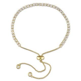 Miadora Yellow Plated Sterling Silver White Topaz Adjustable Tassel Bolo Bracelet