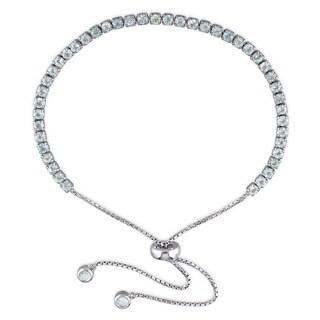 Miadora Sterling Silver Blue Topaz Adjustable Tassel Bolo Bracelet