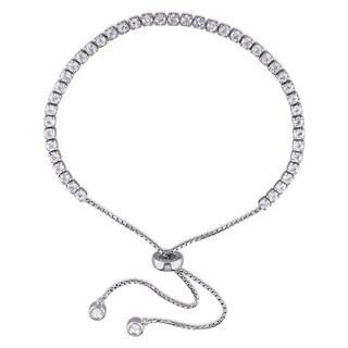 Miadora Sterling Silver White Topaz Adjustable Tassel Bolo Bracelet