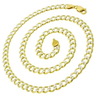 ITProLux 0.925 Sterling Silver 6-millimeter Solid Cuban Curb Link Goldplated Diamond Cut Necklace Chains