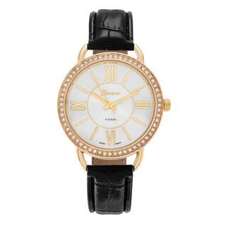 Geneva Platinum Women's Rhinestone Accent Roman Numeral Faux Leather Strap Watch
