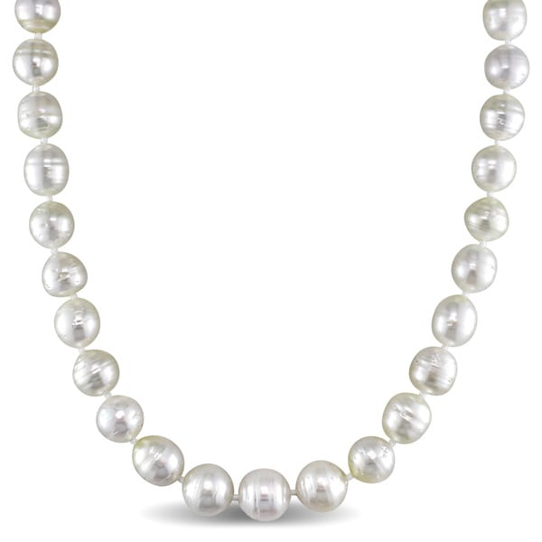 Miadora 14k Yellow Gold White South Sea Pearl Strand 18 Inch Necklace (8-10mm)