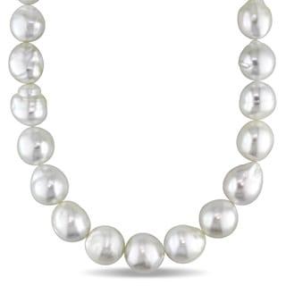 Miadora 14k Yellow Gold White South Sea Pearl Strand 18 Inch Necklace (11-13mm)