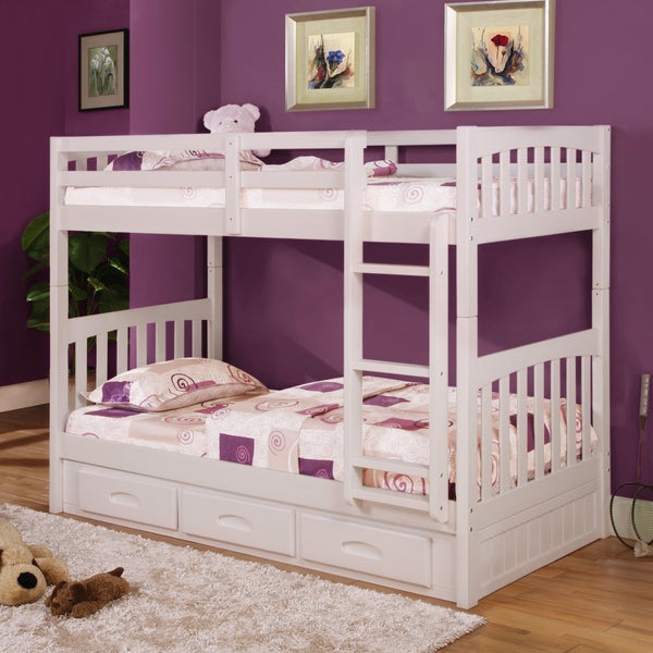 Painted Wood/Pine Twin over Twin 3-drawer Bunk Bed with Free Desk, Hutch, and Chair